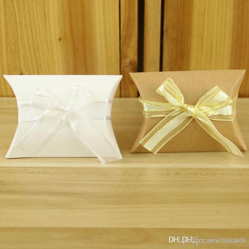 Casamento Bombom Pillow caixas de papel papel partido Kraft Box Presente criativo Doces Chocolates titulares caixas do favor 0038pack Atacado