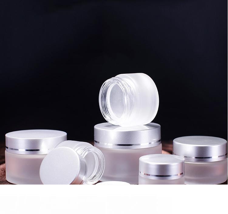 Vetro smerigliato bottiglia di crema cosmetica rotonda vasetti bottiglia con interno PP fodere per la mano crema per il viso bottiglia 5g a 100g