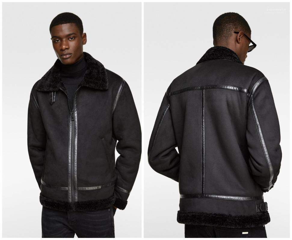 Piel Moda abrigos para hombre del diseñador del Mens Negro abrigos de invierno de la piel de imitación gruesa chaqueta de lujo de doble cara
