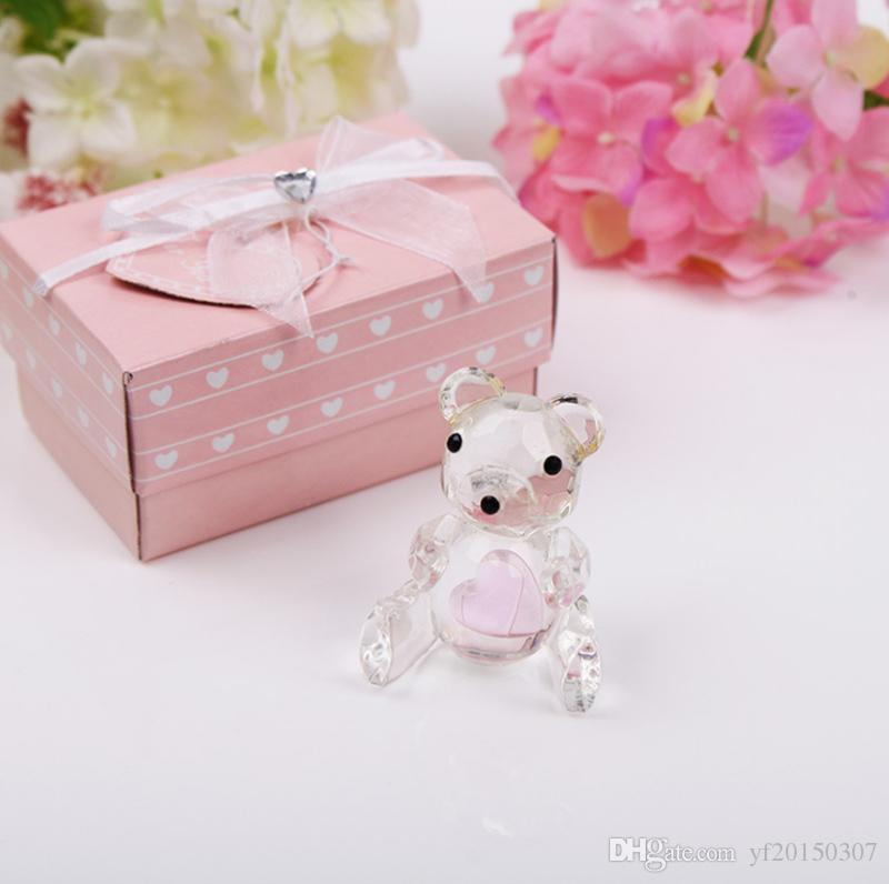 Urso de Cristal de pelúcia na caixa de presente de cristal chás de bebê Batismo presentes lembranças fontes do casamento partido presente favor