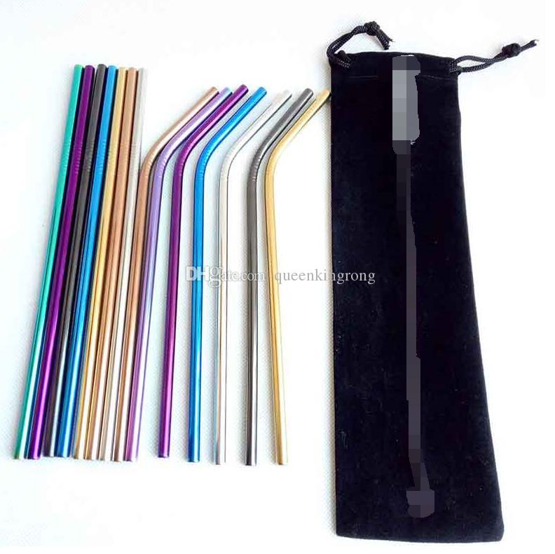 "Stainless Steel Colored Drinking Straws 8.5"" 9.5"" 10.5"" Bent and Straight Reusable Metal Straws Tool 10 colors OD 6MM/8MM choose Home Party"