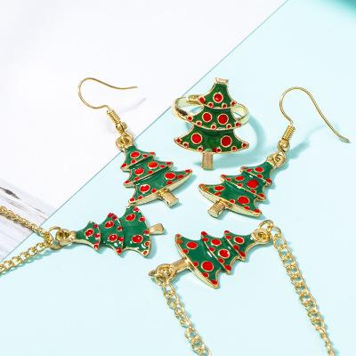 Christmas Tree Pendant Necklaces Charm Bracelets Earrings Rings Set Christmas Statement Jewelry Sets Gifts for Women Girls DHL