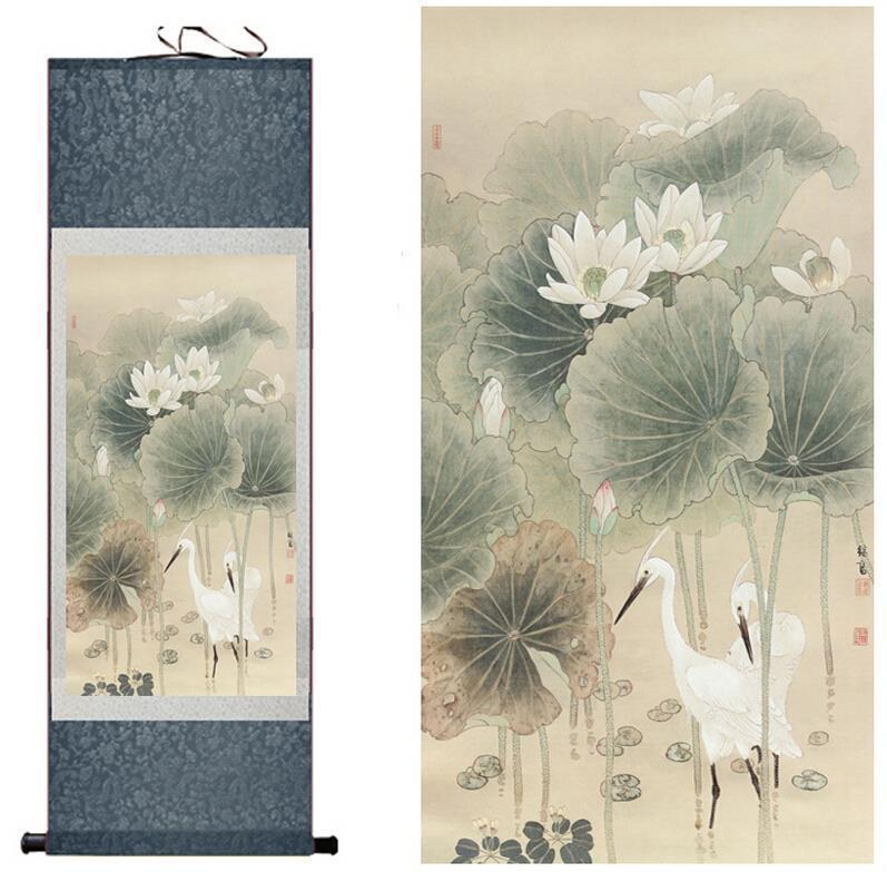 Traditional Silk Art Painting Birds And Water Lily Chinese Art Painting Home Office Decoration Chinese Painting2019061414