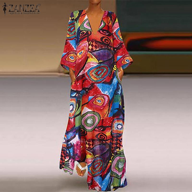 ZANZEA 2020 Otoño cuello V 3/4 impreso floral de la fiesta de la vendimia de las mujeres Vestido de tirantes Vestido maxi largo del vestido del traje vestido suelto Femme