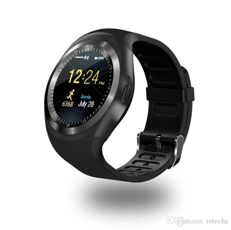 Hot Y1 Bluetooth smart watch Wrisbrand Bracelet Round Touch Screen with SIM Card Slot for android Samsung iPhone with retail package
