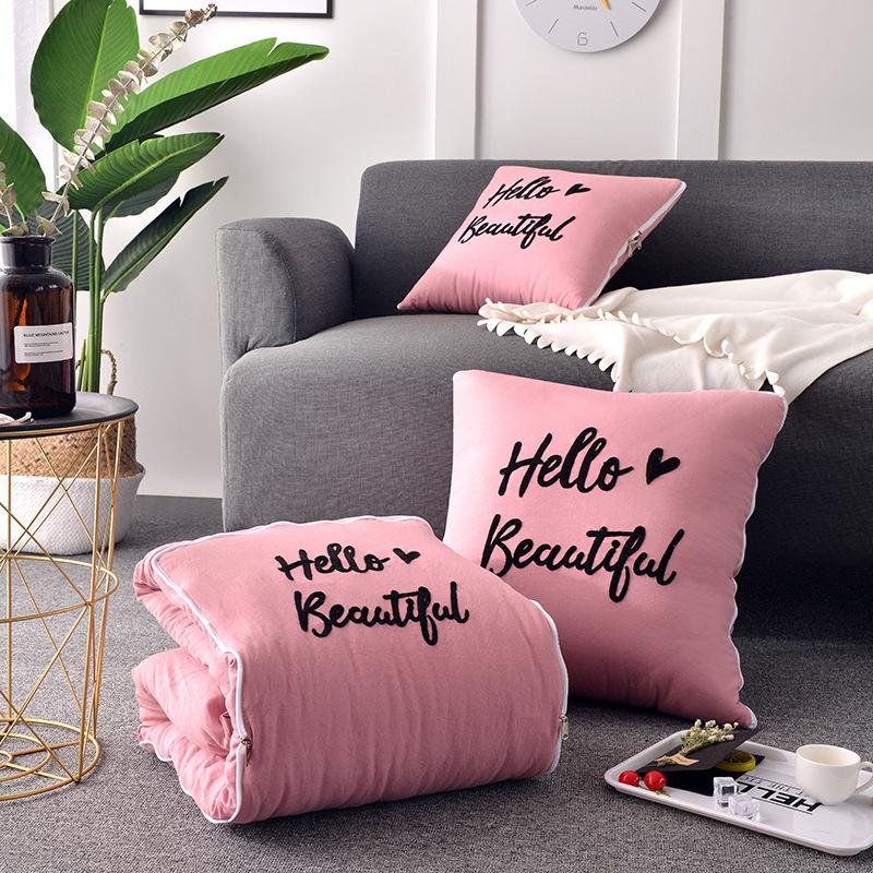 Nordic Embroidered Letter Pattern Decorative Pillow Fold Blanket Quilt 2 in 1 Home Office Sofa Rest Nap Pillow Blanket Cushion