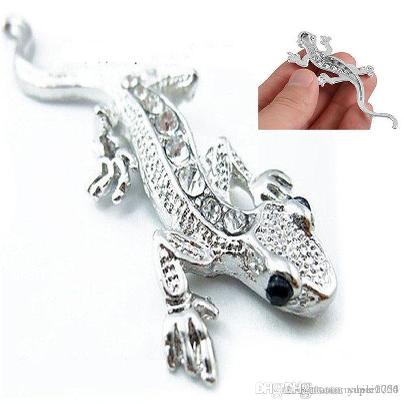1pcs Car Styling Beautiful Rhinestones Badge 3D Gecko Shape Metal Sticker Silver Golden Personalized Auto stickers