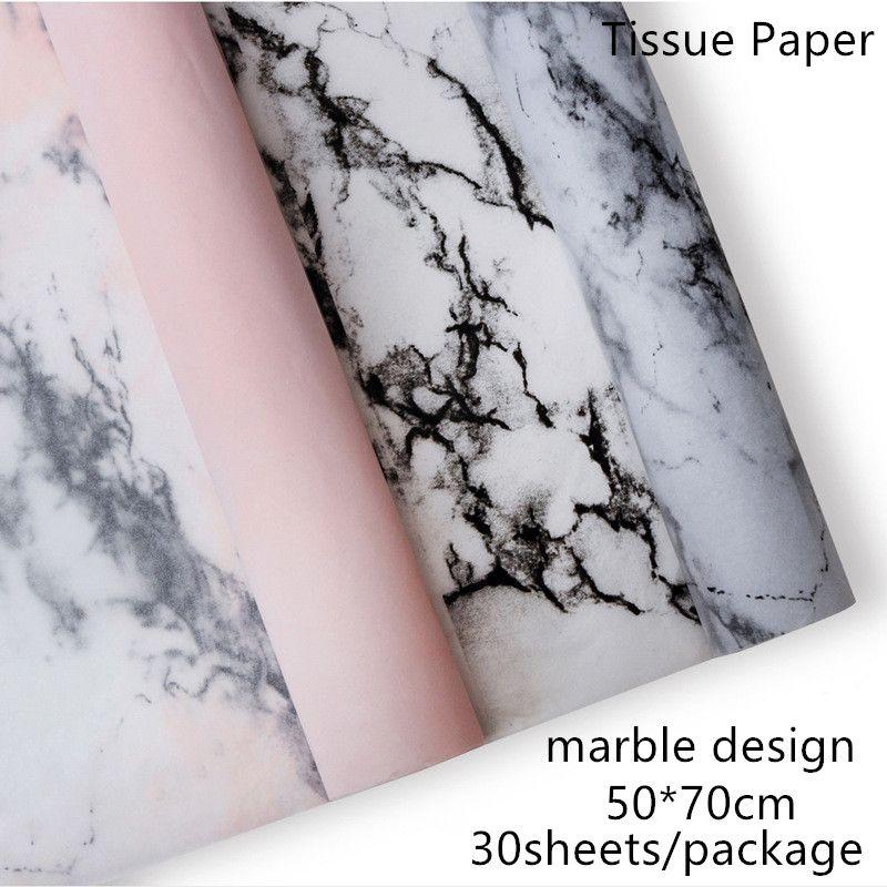 30 Folhas de design de mármore / pacote 50 * 70 cm Papel De Embrulho Flor Roupas Sapatos Embalagem Do Presente Do Ofício De Papel De Embrulho