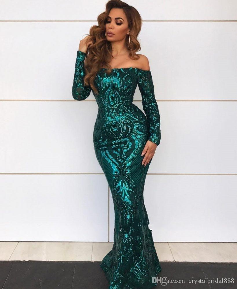 2020 New Sexy Emerald Green Gold Sequins Mermaid Evening Dresses Wear Off Shoulder Lace Sequined Long Sleeves Prom Dress Formal Party Gowns