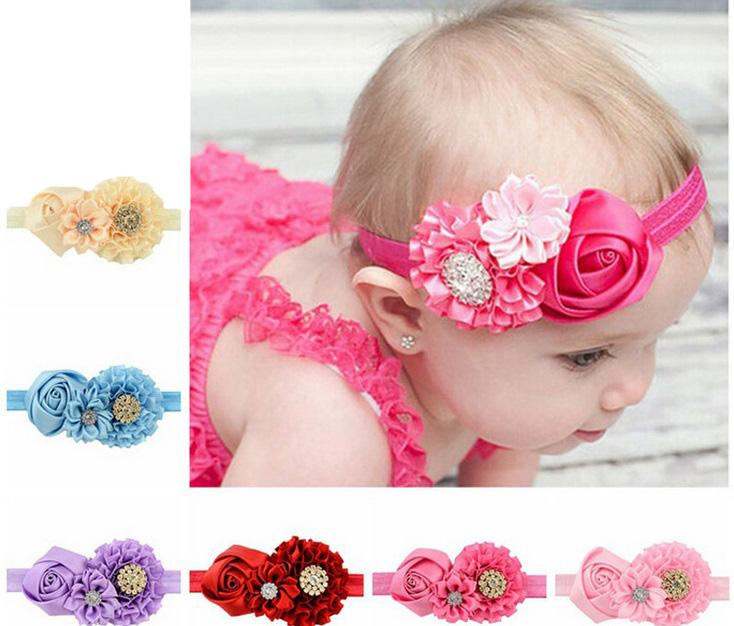 Cute Baby Kids Bling Hairband Bow Elastic Band Headband Flower Hair Accessories