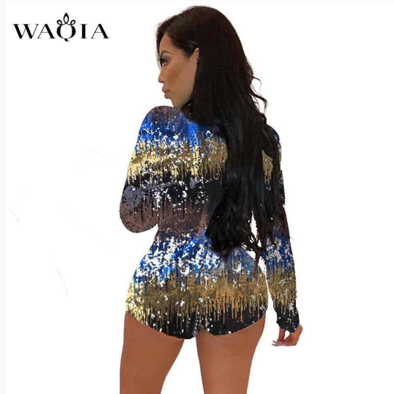 0712a29df8f0 2019 2018 New Charming Colorful Sequins Jumpsuit Rompers Women Long Sleeve  Sexy Deep V Neck Bodysuit Xmas Party Nightclub Playsuits From Dayup