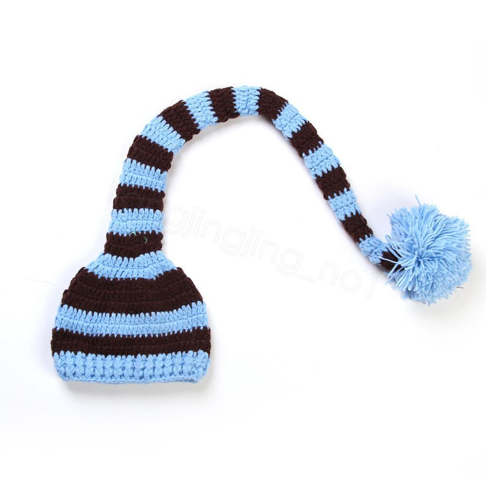 Handmade Knit Santa Hat Crochet Baby Xmas caps Baby Boy Girl Christmas Pompom Hat Infant Long Tail Stripe Beanies party prop hats FFA3131