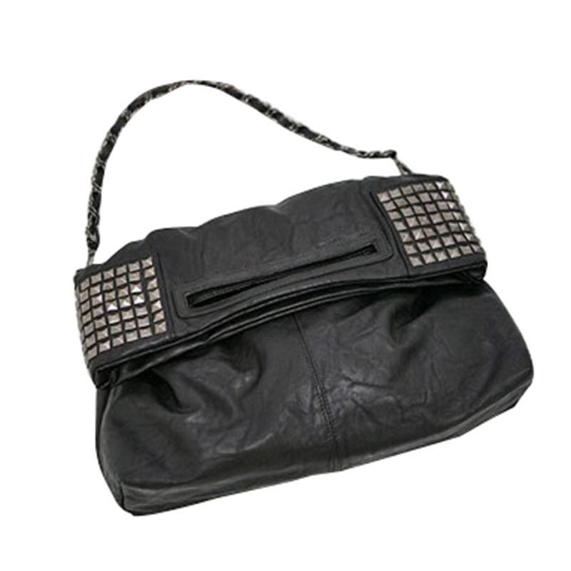 AUAU-Bayan Kore Faux Deri Perçin Zinciri Katlanabilir Omuz Çanta Çapraz vücut Çanta