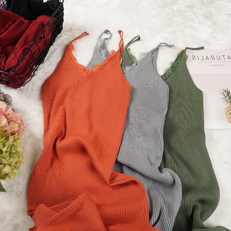 Kadınlar Spagetti Askı Elbise 2020 Yaz V-Yaka Dantel Patchwork Örme Elbise Bölünmüş Yüksek Bel BODYCON Tank vestidos Mujer PP486