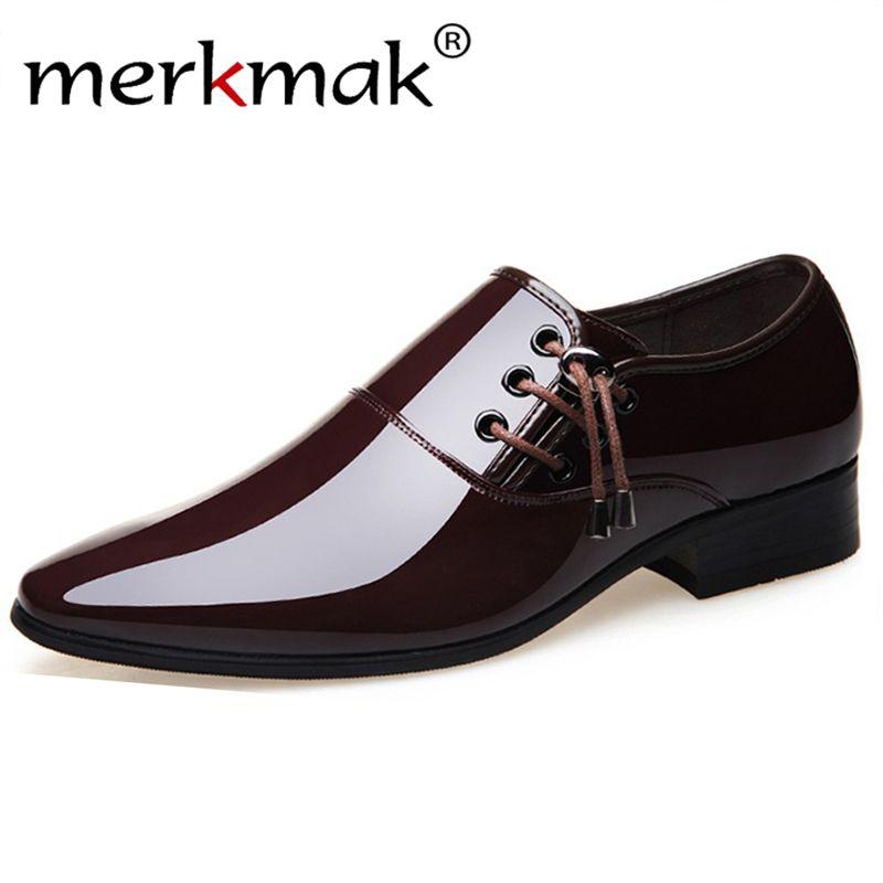merkmak 2020 vestito da affari Scarpe Uomo cerimonia nuziale convenzionale calzatura a punta le dita dei piedi scarpe di cuoio dell'unità di elaborazione di moda Scarpe Appartamenti Oxford per gli uomini Y200420