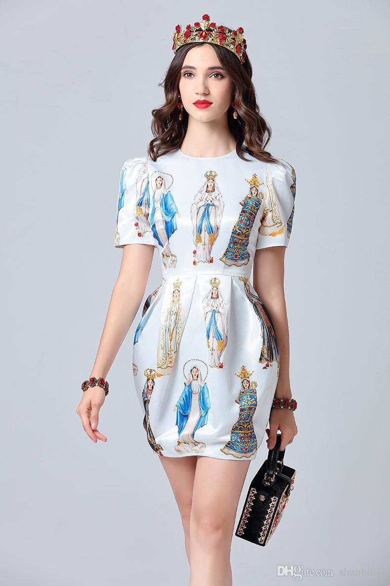 2020 2019 Fashion Designer Summer Dress Womens Short Sleeve Noble Angel Printed Elegant White Dress Vestidos Female From Shanbitao 60 3 Dhgate Com