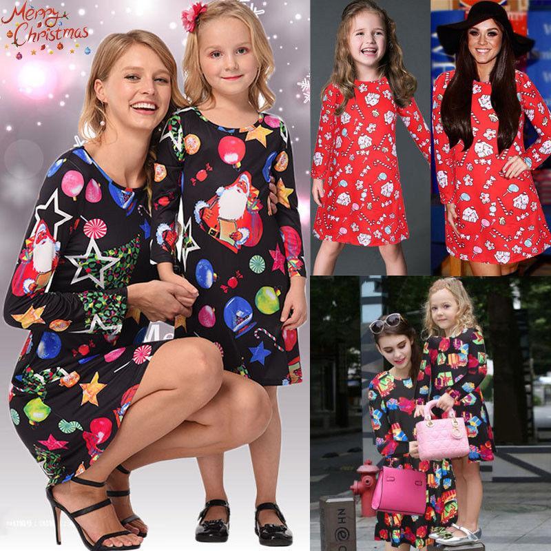 Xmas Weihnachts Mutter-Tochter-Matching-Kleid Outfits Mom Kids Kleider Familie Passende Kleider Kleidung