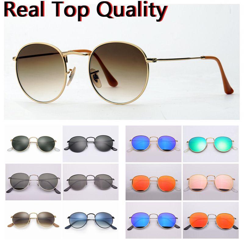 رجل الأزياء النظارات الشمسية جولة المعادن مكبرة امرأة رجل خمر نظارات الشمس الأزرق مرآة uv حماية الزجاج عدسات مع حقيبة جلدية