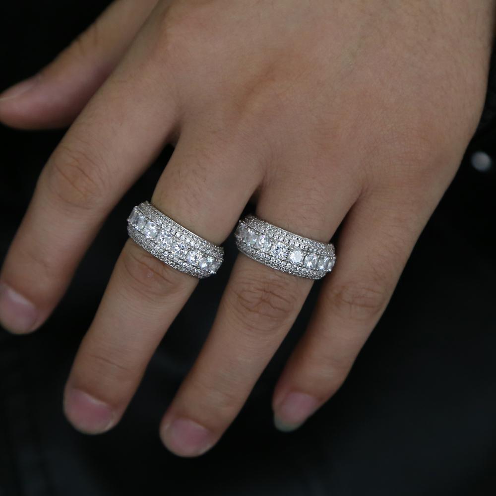 New hip hop size # 7-10 moda zirconi anelli 3 strati uomini classici gioielli dito cordolo punk anello di proposta di lusso per il fidanzato