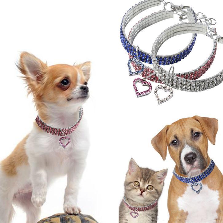 أحدث طوق الحيوانات الأليفة الكريستال قلادة شكل قلب الكلب طوق القط كريستال الحب طوق إمدادات الحيوانات الأليفة الملحقات