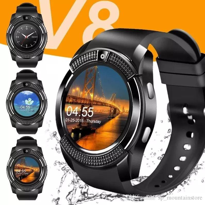 V8 스마트 시계 손목 밴드 시계 밴드 0.3M 카메라 SIM IPS HD 전체 서클 디스플레이 스마트 시계 Android 시스템