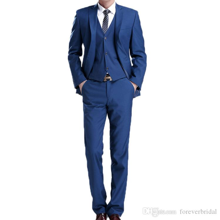 Groom Tuxedos Royal Blue Mens Wedding Tuxedos Notch Lapel 3 Pieces One Button Designer Jacket Formal Blazer