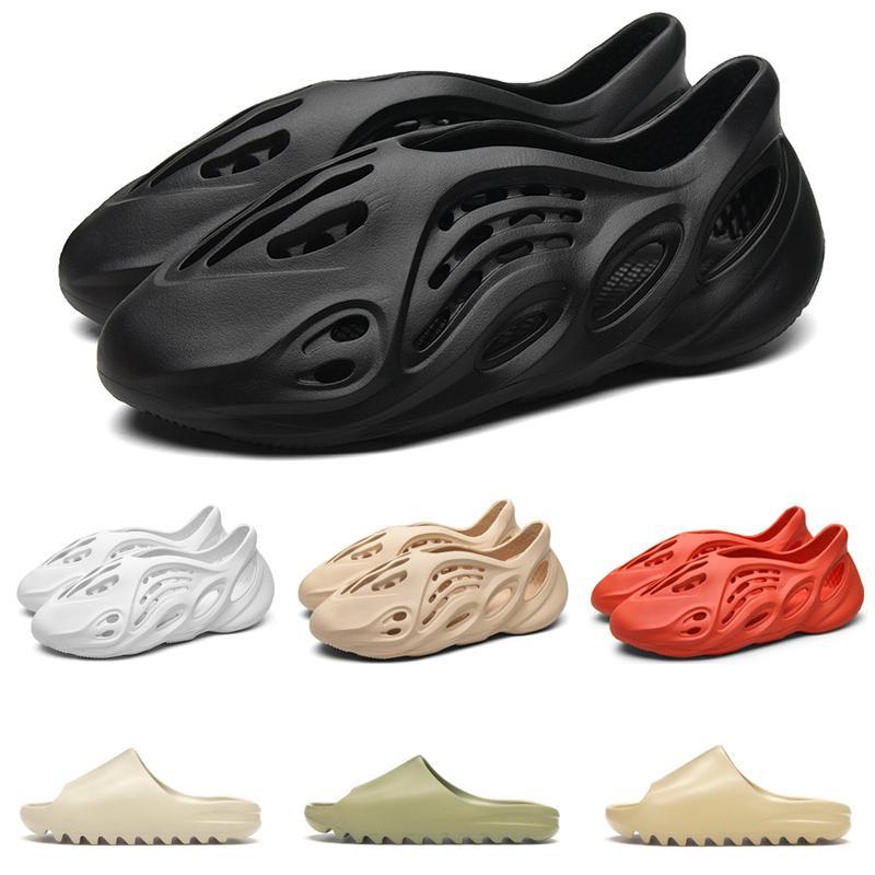 Adidas yeezy slipper kanye west slides espuma Runner triples mujeres blancas del negro para hombre sandalias de los deslizadores clásicos toboganes zapatillas al aire libre 36-45