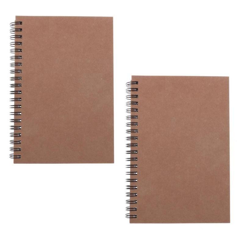 2 Stück Packpapier-Abdeckung Spiral Notebooks Journal Tagebuch Sketchbook Notizblöcke