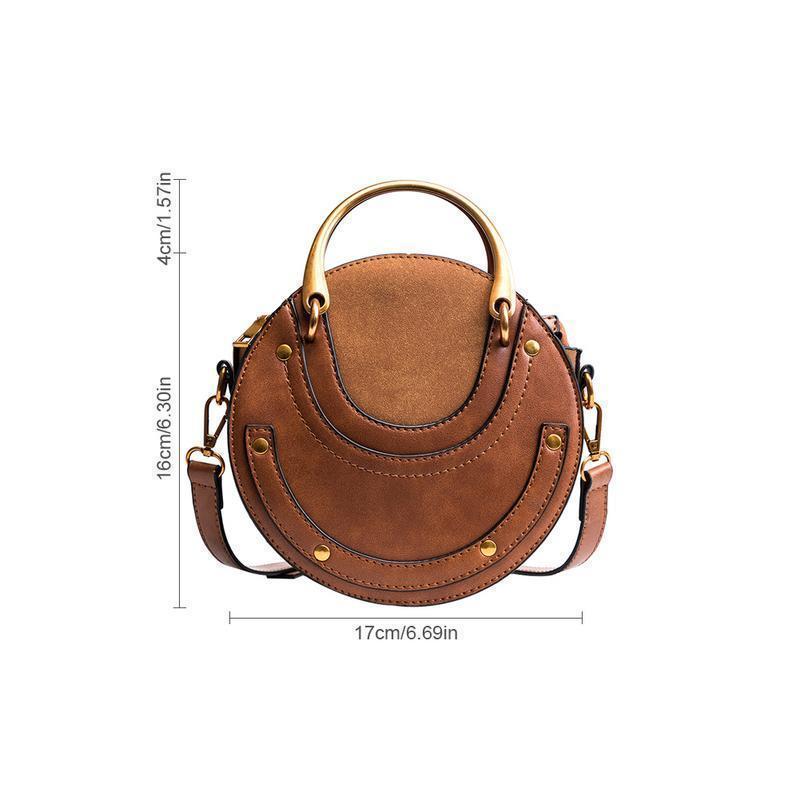 Umhängetasche Pu Beutel-Art- und Clutch-Taschen-Rivet Kleine runde Handtaschen-Kurier-Schulter-Handtasche für Frauen Weibliche Elegante Damentasche