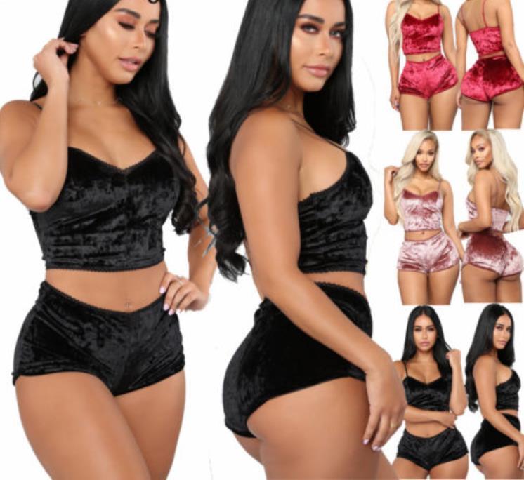 Mode Femmes 2pcs Velvet Vêtements De Nuit Sexy Spaghetti Strap Velours Shorts Pyjama Set