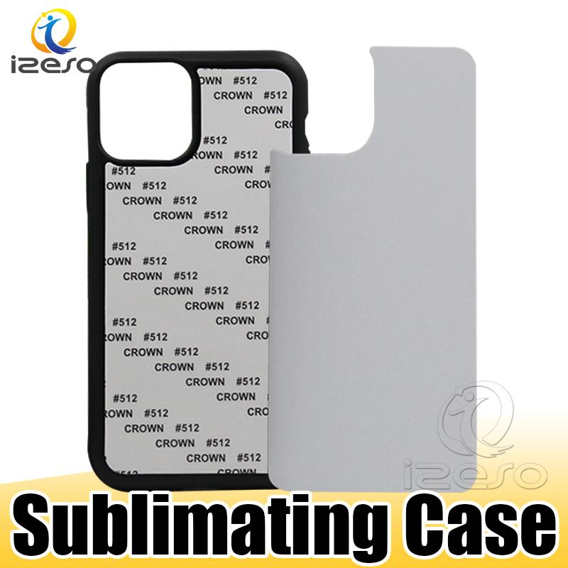 TPU+PC Blank 2D Sublimation Hard Plastic Heat Transfer Phone Case with Aluminum Inserts for iPhone 12 11 XS XR Samsung S20 A21 izeso