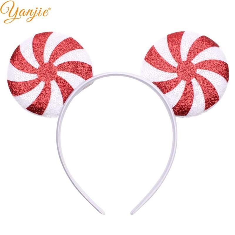 10pcs / lot Oreilles Mode Paillettes souris Bandeau Glittle bricolage filles Accessoires cheveux pour les femmes Lolipop Party Accesorios Mujer