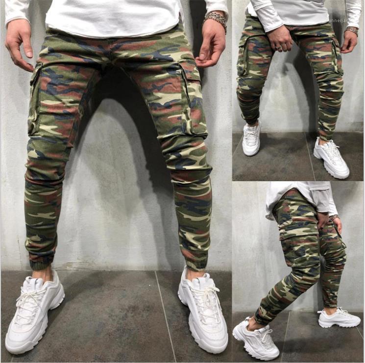 Джинсы Мода Большой Карманы Stretch Pants Streetwear Hip Hop Mens Casual тощие брюки мужские Камуфляж Карандаш