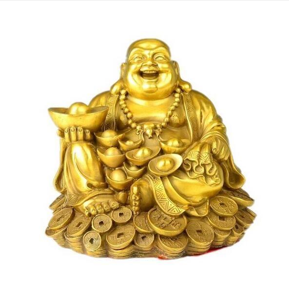 Maitreya cobre Buda Buda oro adornos dinero reír sala de estar feng shui suerte decoración