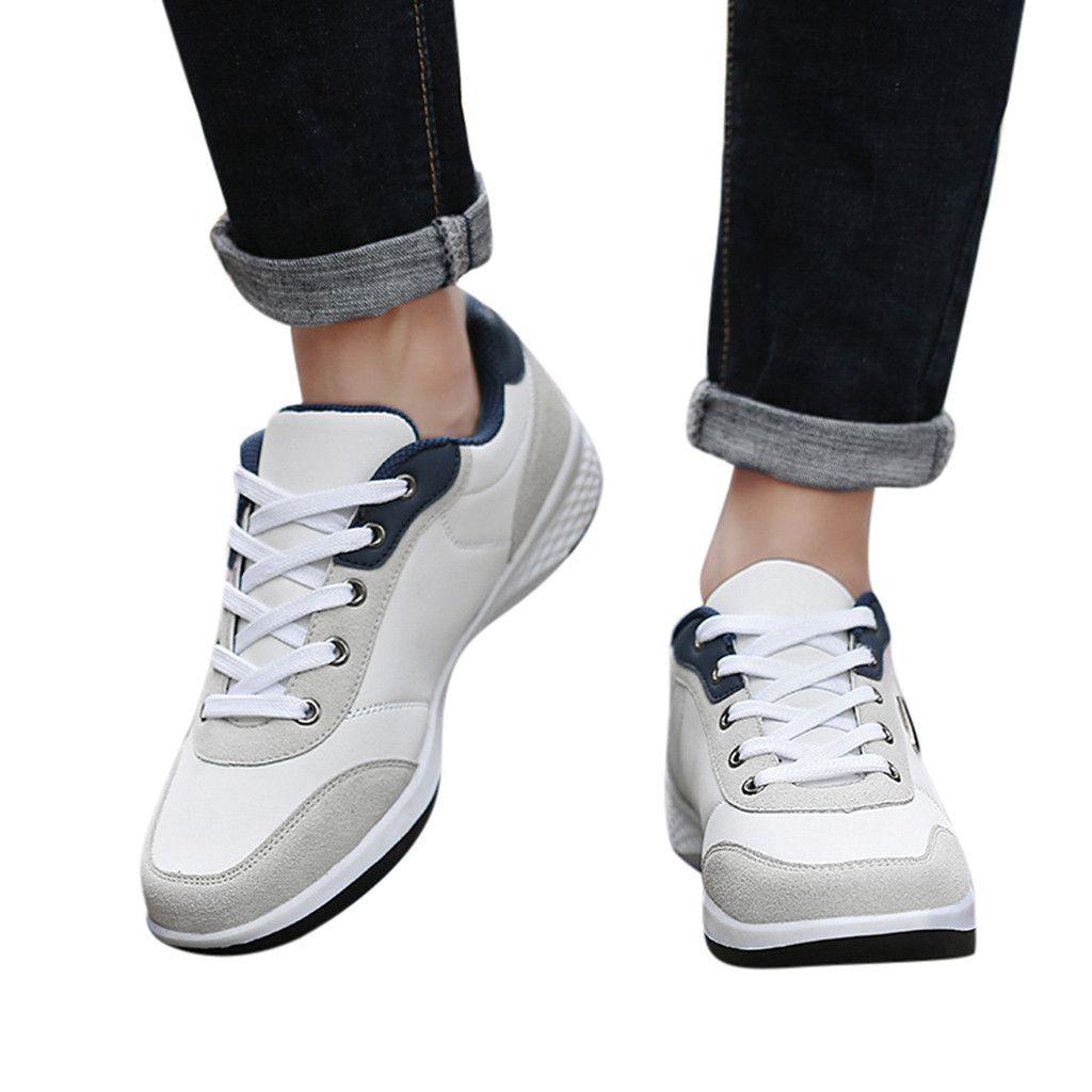 SAGACE Chaussures de sport Mode Hommes Printemps Casual Lace Up de sport en cuir Chaussures de course confortables Chaussures Plate-forme Respirant 2020 X0103