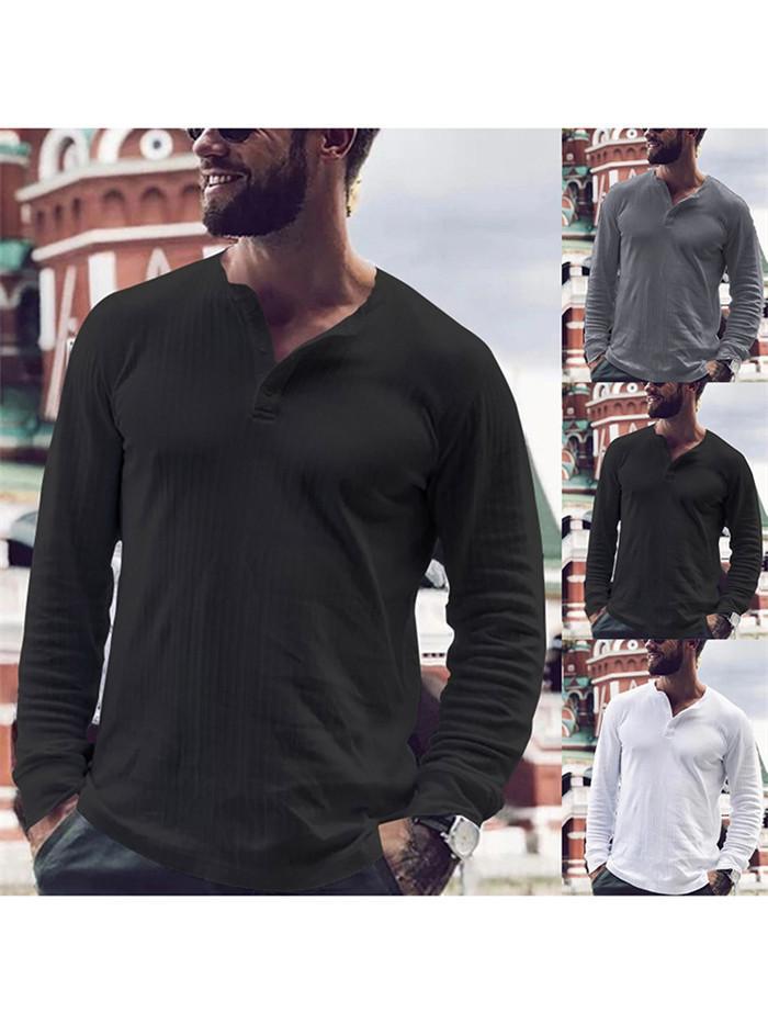 Hommes Collier bande T-Pied Printemps Automne manches longues couleur unie Deux boutons T-shirts homme lâches Hauts Casual