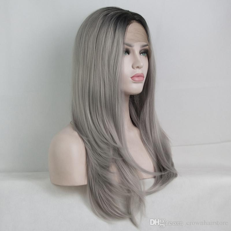 Dark Roots Ombre Silver Grey Natural Straight Curl Wavy Synthetic Lace Front Wig Glueless Heat Resistant Fiber Hair For Women