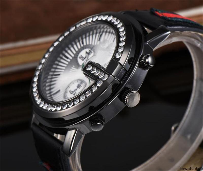 Tiene hombre del logotipo de la moda correa de reloj de cuero relojes de marcación cristalino al por mayor envío de moda del diamante relojes Hombres Mujeres de cuarzo /