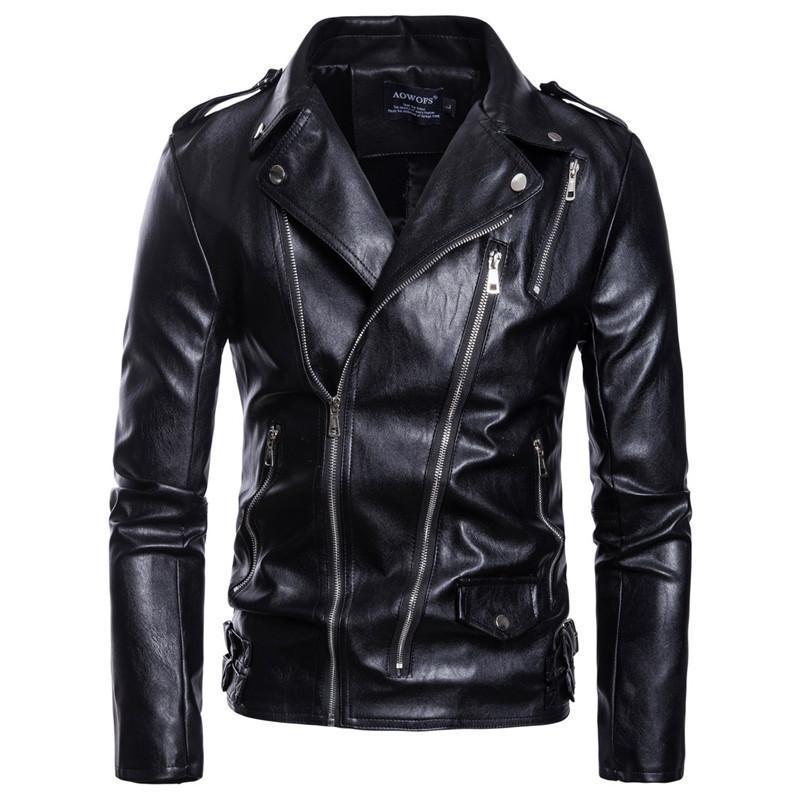 Jackets Plus Size Solid Color Lapel Neck Multi Zipper Outwear Fashion Mens Motorcycle Jacket Mens Designer Leather