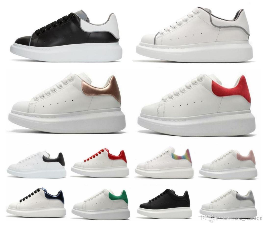 Italia 2020 calza il trasporto libero di tela Chaussure calda delle scarpe da tennis della piattaforma Formatori con la scatola 3M riflettenti pattini casuali di modo degli uomini d'oro donne
