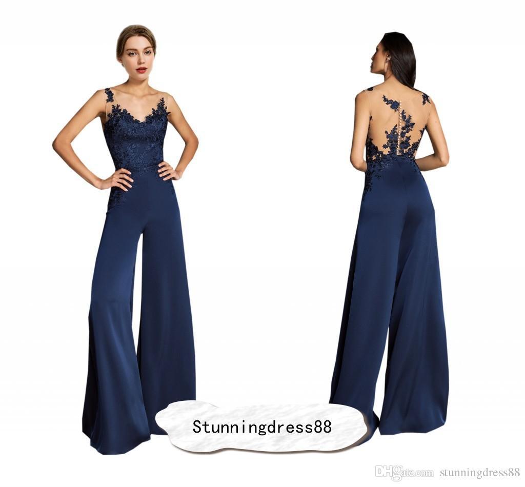 Gelin Damat pantolon Suit Akşam Balo Tulumlar Elbiseler 2021 Donanma Moda Anne Şeffaf Boyun Aplike Dantel Hollow Geri şifon Uzun
