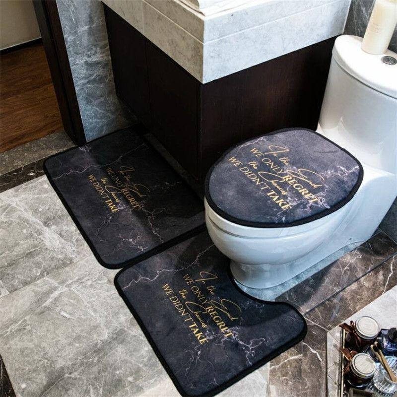 INS Moda Hızlı Kuru Klozet Kapak Klasik Letter Baskılı Banyo Mat Retro Üç parçalı Erkekler Kadınlar Yumuşak Tuvalet Mat