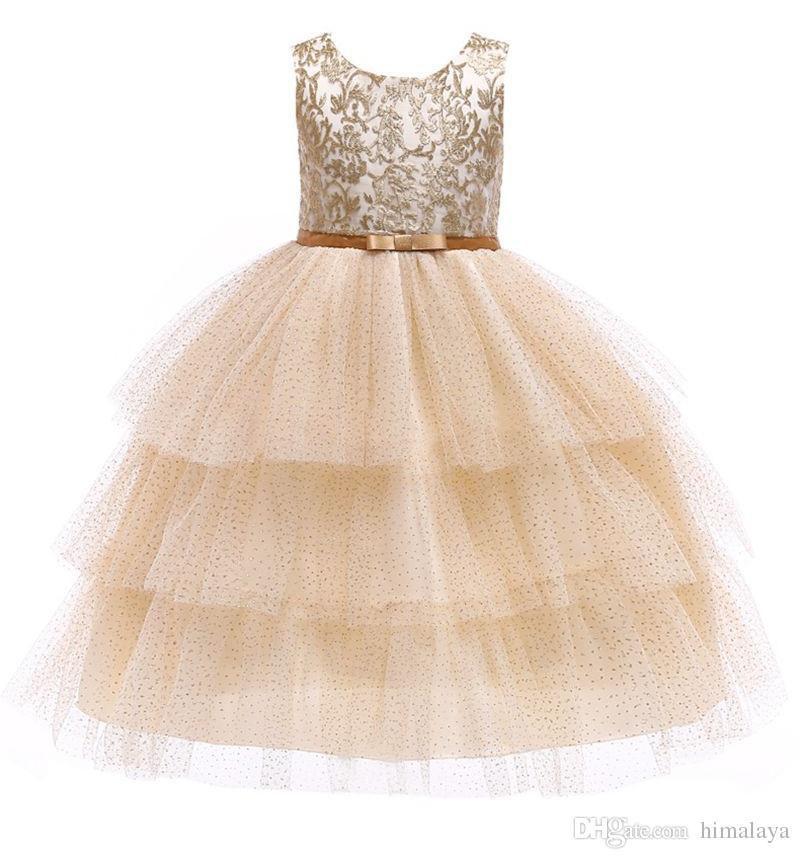 Baby Girls Gold Lace TUTU Dress 2019 Kids Dresses For Girls Princess Dress Infantil Party Layered Dress Girl Wedding Clothes