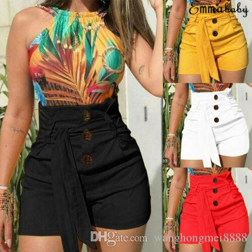 New Fashion Women Summer Life Highy Strettrit Shorts 2019 Casual Solid Bottom Beach Beach Ball Shorts Lady Slim Fitness Brevi pantaloni