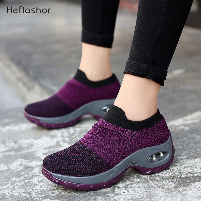 Shujin Yeni 2019 Yaz Moda Nefes Mesh Günlük Ayakkabılar Platformu İçin Kadınlar Siyah Çorap Sneakers MX200425