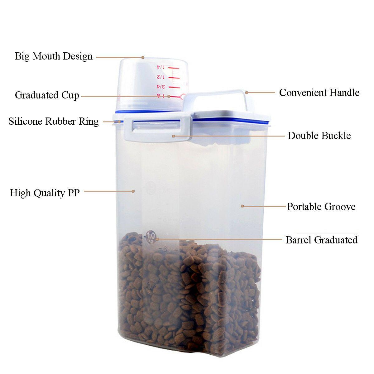 Compre Cat Dog Pet Animal Food Storage Container Dry Dispenser Cup Grande Capacidade 2 5l 2 Kg De Jvren 59 59 Pt Dhgate Com