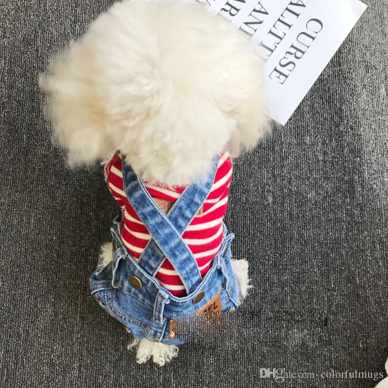 Köpek Denim Önlüğü Pantolon Kişilik Pet Teddy Schnauzer Pantolon Hip Hop Köpek Kedi Pantolon Yüksek Kaliteli Pet Köpek Giyim