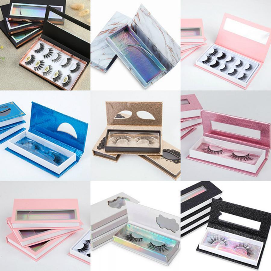 المغناطيسي جلدة صندوق 3D المنك الرموش صناديق وهمية الرموش الصناعية التغليف حالة إفراغ رمش صندوق مع علبة بلاستيكية أدوات التجميل