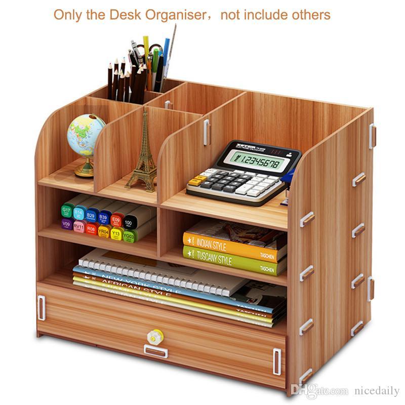 Multi-fonctions Support de bureau en bois Porte-brosse cosmétiques Boîte de rangement pour stylo Crayon organisateur de bureau Présentoir à bijoux