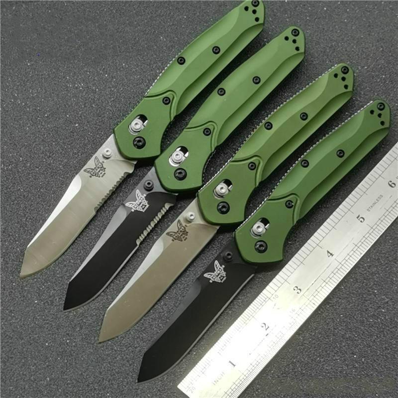 benchmade couteaux BM940 Osborne couteau pliant S30V Satin motifs Lame Violet anodisé Spacer titane poignées vertes aluminium couteau bm